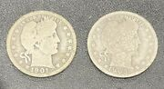 1901-o And 1905-s 25c Barber Silver Quarters