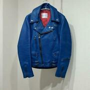 Luiand039s Leather Lightning Jacket 32  34 Blue 90and039s Vintage
