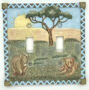 Safari Double Light Switch Plate Cover Kids Room Lion Rhino Borders Unlimited