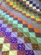 Vintage Homemade Patchwork Quilt Farmhouse Style 1960/70s Flannel Backed 80x87