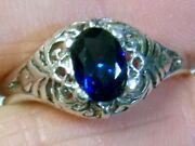 Blue Sapphire Ring Size 6.5 Antique 925 Sterling Silver Vintage Style Usa Made