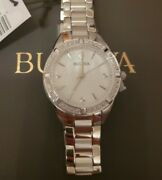 Nwt Bulova Womens Watch Diamond Mother Of Pearl Dial Stainless Steel Link Band