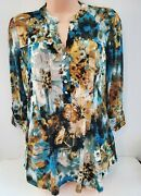 New Cocomo Teal Floral Ladies Blouse Pin-tucked Pleated Studded 3/4 Sleeves