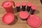 Tupperware Pitcher Tumbler Cups And Lids Plates And Bowls Set Camping Picnic Pool