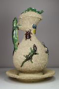 Antique 19th Century Manuel Mafra Palissy Portugal Majolica Lizards And Bugs Ewer