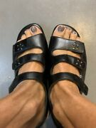 New Sas Tri-pad Comfort Made In Usa Womenand039s Black Sandals Size 6 1/2 Wide Nwob