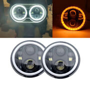2x 5.75 5 3/4 Led Motorcycle Halo Headlight Drl Amber Turn Signal For Triumph