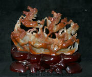 14.8natural Red Agate Carnelian Carved Feng Shui 8 Running Horse Success Statue