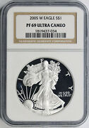 2005-w 1 Proof American Silver Eagle Ngc Pf69 Ultra Cameo
