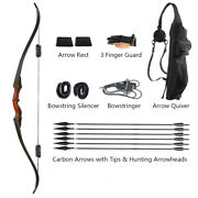 Archery Takedown Hunting Recurve Bow And Carbon Arrows With Arrowheads Quiver Set