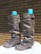 Brown Distressed Slouch Knee High Mia 6-7 Women's Leather Boots