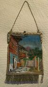 Antique Vintage Beaded Scenic Purse Mountain Village Chalet Jewel Frame Germany