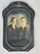 20x13 Antique Wood And Gesso Frame Hand Tinted Portrait Man And Woman -- C.1920