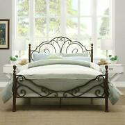 Queen Size Metal Bed Frame Bronze Four Poster Vintage Iron Headboard Footboard