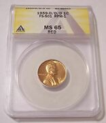 1959 D/d/d Lincoln Memorial Cent Rpm Variety Fs-501 Rpm-1 Ms65 Red Anacs