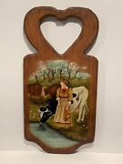 Vintage Signed Hand Painted Farmhouse Cow Rustic Decor Wood Wall Painting