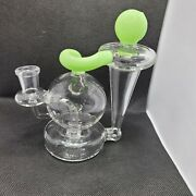 5.7 Inch Green Recycler Glass Water Pipe