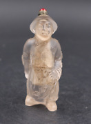 China Rare Old White Coloured Glaze Qing Dynasty Officials Modeling Snuff Bottle