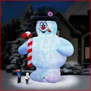2-story Frosty The Snowman Dazzling Light Show Inflatable Christmas Yard In Hand