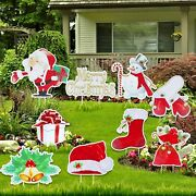 Christmas Yard Signs 9pcs Set Stakes Merry Holiday Lawn Yard Outdoor Decorations