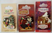 Mickey Mouse Pins Food And Wine Festival 2009 2011 2013 Disney Lot Of 3 – New