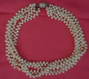 Kep Designs 4 Multi-strand Beaded Pearl Necklace Swavorski Crystal Silver Clasp