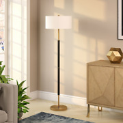 Silver Orchid Floor Lamp, E26-base Bulb, Premium Materials, French Drum Shade