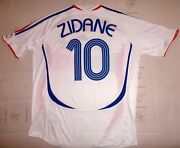 Zidane Adidas World Cup Germany 2006 White Shirt Maillot 06 Andeacutequipe De France