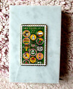 Girl Scout Paperweight 75th Anniv. 1987 Usps Stamp On Marble, Collector Gift