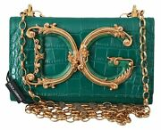 Dolce And Gabbana Bag Women's Green Leather Shoulder Logo Iphone X Cover Case