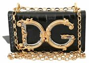 Dolce And Gabbana Bag Women's Black Leather Shoulder Logo Iphone X Cover Case