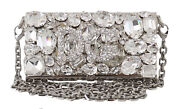Dolce And Gabbana Bag Womenand039s Silver Metal Crystal Clutch Micro Cross Body Box