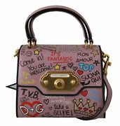 Dolce And Gabbana Bag Women's Pink Leather Dg Crown Crossbody Welcome Purse