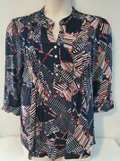 New Cocomo Ladies Red White And Blue Pintuck Pleated Americana Tunic Blouse