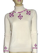 Luxe Oh` Dor 100 Cashmere Sweater Luxury Pearl White Pink 46/1623.1oz /xl