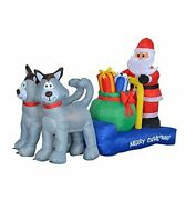 7 Foot Long Christmas Inflatable Santa Claus On Sleigh With Husky Dogs And