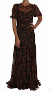 Dolce And Gabbana Dress Womenand039s Black Floral Roses A-line Shift Gown It40/us4/m