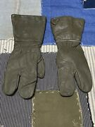 German Military Leather Motorcycle Gloves Split Finger Size 8 1/2