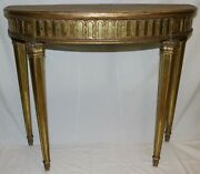 Vintage Adam Neoclassical Demilune Console Table Gold Gilt Carved Wood Mirror