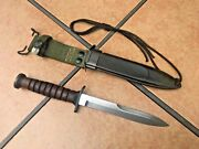 U.s. M3 Type Leather Fighting Knife With Wood Grain Scabbard