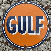 Vintage Gulf Gasoline Porcelain Metal Sign Lube 12andrdquo Oil And Gas Station Petroliana