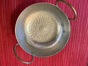 Antique Vintage Hammered Copper Silver Bowl With Handles