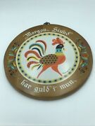 Berggren Swedish Proverb Wood Rooster Wall Hanging Early Bird Catches The Worm