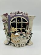Puppy Love 2 Dogs Toasting Champagne Tea Light Holder Blue Sky Love Scenes Flaw