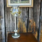 Vintage Silver Plate Brass Stick Table Lamp Hand Blown Murano Glass Light Shade