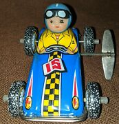 Vintage Wind Up Racing Car Tin Toy 15 Ms 122 Made In China