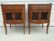 Pair French Nightstands Solid Cherry 2 Regency Louis Xvii Country Chicken Wire