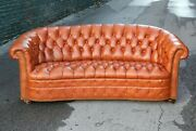 Vintage Hancock And Moore Chesterfield Sofa Leather Couch With Nailhead Trim