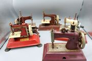Lot Of 5 Vintage Red Toy Sewing Machine Casiage Straco And Gateway Machines