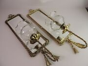 Vintage Home Interior Mirror Wall Candle Sconce Brass Rope Tassel 18andrdquo W/ Glass
